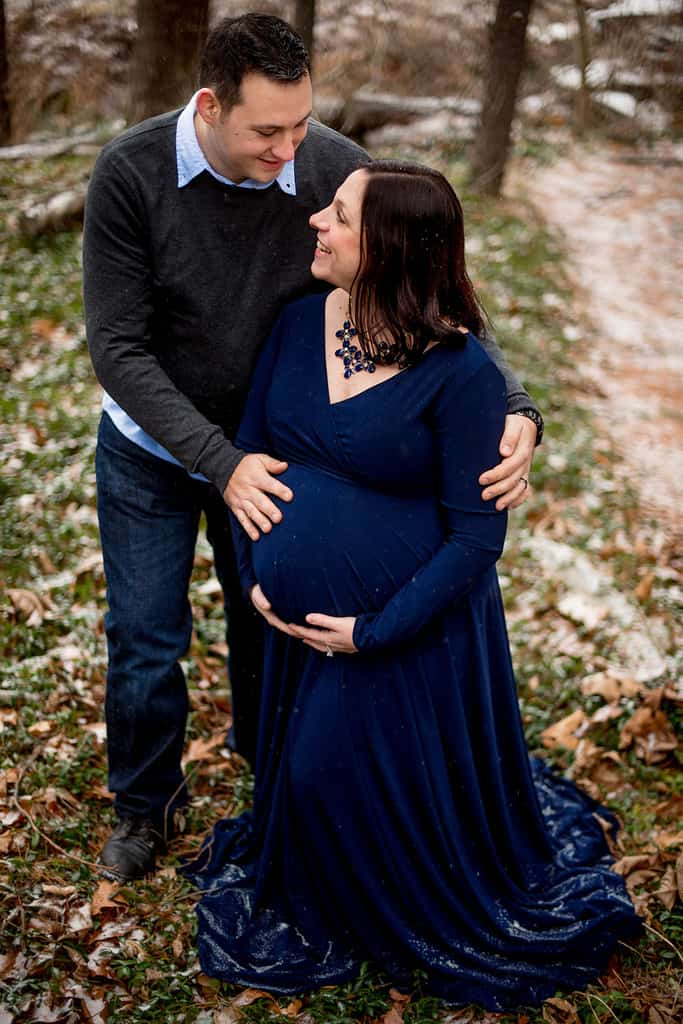 Winter Maternity Session with Navy Blue Maternity Gown